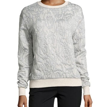 Women's Long-Sleeve Pattern Knit Sweater, Camel/Gray - Halston Heritage - Camel/Grey