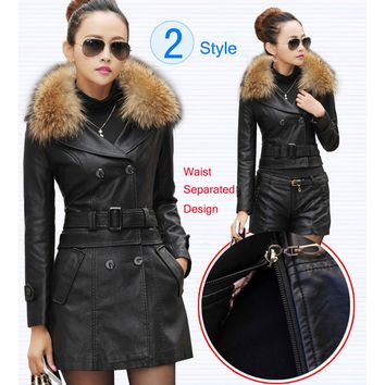 Separated Fur Collar Leather And Suede Jacket