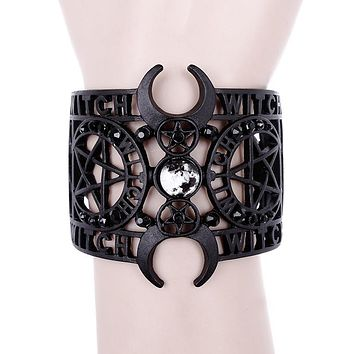 Witchcraft Moon Night Black Metal Intricate Bangle Bracelet
