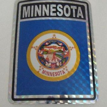 "Minnesota Flag Reflective Sticker 3""x4"" Inches Adhesive Car Bumper Decal"