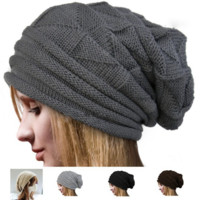 Knitted Unisex Baggy Beanie Oversize Winter Hat