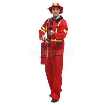 Adult Fireman Costume Halloween Cosplay Role Play Party Firefighter Fire Chief Suit Mens Fancy Dress