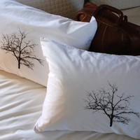 Tree Silhouette Pillowcase Pair Standard Chocolate on White