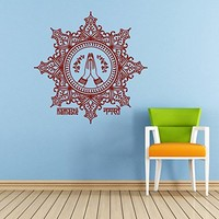 Mandala Wall Decal Namaste Yoga Indian Buddha Ganesh Lotos Lotus Wall Decals Vinyl Sticker Home Interior Wall Decor for Any Room Housewares Mural Design Graphic Bedroom Wall Decal Bathroom (5837)