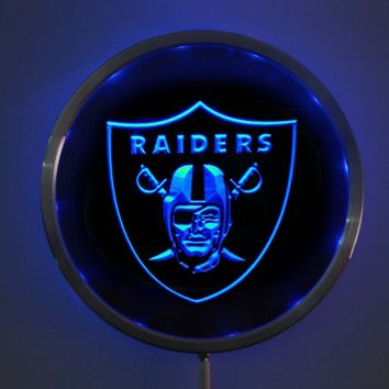 rs-b0053 Oakland Raiders LED Neon Round Signs 25cm/ 10 Inch - Bar Sign with RGB Multi-Color Remote Wireless Control Function