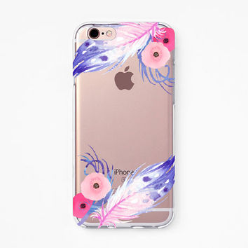 iPhone Rubber Case - Violet Feather - iPhone 6s case, iPhone 6 case, iPhone 6+ case - Clear Flexible Rubber TPU case J26