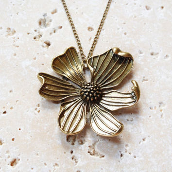 Summer Sale -  Flower Necklace, Large Flower Pendant, Bronze Spring Jewelry