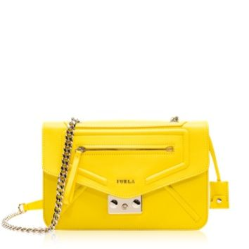 Furla Designer Handbags Alice Sunny Yellow Leather Crossbody Bag
