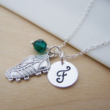 Tennis Shoe Running Soccer Cleat Charm Swarovski Birthstone Initial Personalized Sterling Silver Necklace / Gift for Her