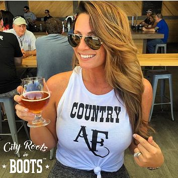 """COUNTRY AF"" Women's White Tank"