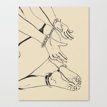 Playing with cuffs in simple black and white, submissive girl cuffed on the floor, sexy games of sub Canvas Print by hmdesignspl