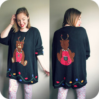 Vintage Reindeer Ugly Christmas Party Sweater Tunic