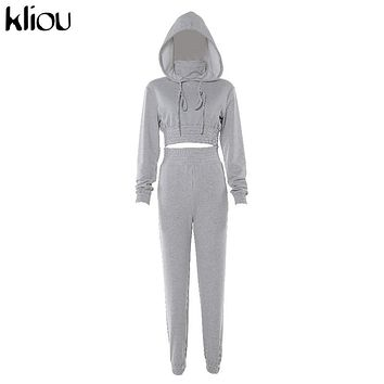 Kliou women casual hoodies crop top two pieces set solid gray cotton high quality