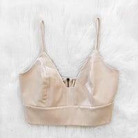 Satin V Neck Top (Champagne)