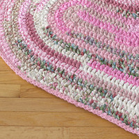 Heart Shaped Hand Crocheted Rag Rug - Pink, Cream, White and Green