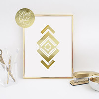 Abstract Print Poster, Real Gold Foil, Gold Aztec Print, Geometric Print Poster, Minimalist Poster, Aztec Wall Art, Home Decor, Aztec Shape