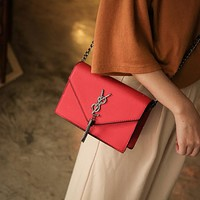 Women All-match Simple Y Letter Metal Chain Mini Single Shoulder Messenger Bag Small Square Bag