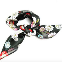 Small Head Scarf, Small Neck Scarves Square, Black Print Flowers Smiling Face