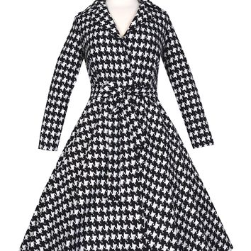 Bernie Dexter Spy Swing Coat in Black and White Houndstooth
