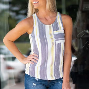 Visions Of Love Front Pocket Top : Yellow/Navy