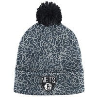 Men's Brooklyn Nets Mitchell & Ness Gray Crack Pattern Cuffed Knit Hat