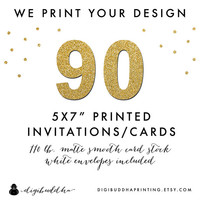 "90 Printed CARD STOCK INVITATIONS 5x7"" We Print Your Design! Professionally Printed by digibuddha Printing Invite Greeting or Photo Card"