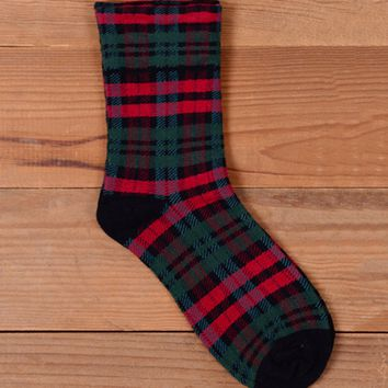 Casual Plaid Cotton Vintage Sock