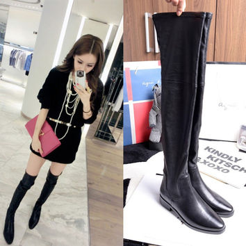 Winter Flat Stylish Leather Knee-length Boots [4920296900]