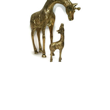 "Vintage Giraffe Figurine Brass Giraffe African Decor Mom and Baby Giraffe Brass Figurine  8.5"" Tall Brass Animal"