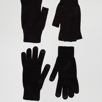 ASOS 2 Pack Fingerless and Touchscreen Gloves in Black SAVE at asos.com
