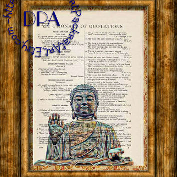 Geeky Art Buddha Statue Art - Vintage Dictionary Page Art Print Upcycled Page Print