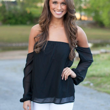 Strapless Long Sleeve Chiffon Blouse