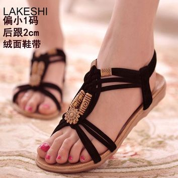 LAKESHI Women Sandals Flat Summer Shoes Buckle Strap Beach shoes Black String Bead San
