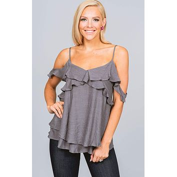 Charcoal Ruffle Cold Shoulder Blouse