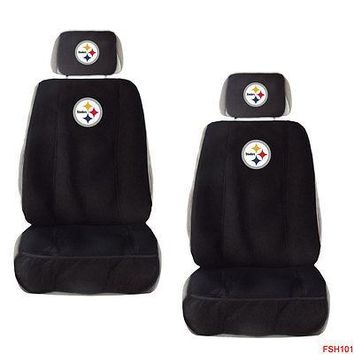 Licensed Official New NFL Pittsburgh Steelers Car Truck 2 Front Seat Covers with Head Rest Covers
