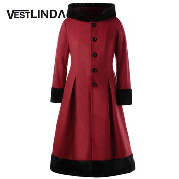 VESTLINDA Winter Wool Coat Women Plus Size 5XL Faux Fur Hooded Long Sleeves Dress Coats New Fashions Casual Slim Long Outerwear