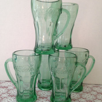 Set of (6) Vintage Green Coke Cola Mugs Soda Shop Style made by Libbey
