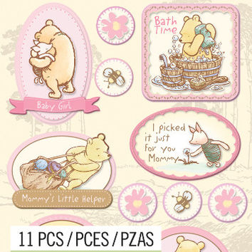 disney dimensional stickers-classic pooh girl