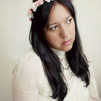 Ethereal Bridal Floral Crown, Pink, Red and White, Flower Crown. Woodland, Braidmaids, Hair Accessories, Garden Wedding, Fall, Autumn