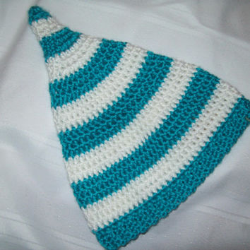 Crochet Baby Pixie Hat, Baby Teal and White Stripe Sprite hat, Photo Prop, 6 months