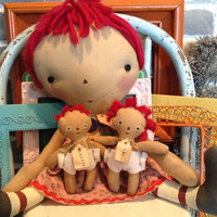 Mother's gift mother Raggedy Annie with two children doll set
