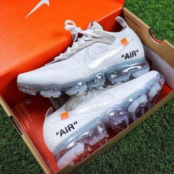 DCCKGV7 Best Online Sale OFF WHITE x Nike Custom Air VaporMax 2.0 OW Sport Running Shoes White Ice Blue Sneaker
