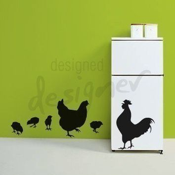 Chicken Family  Removable Graphic Wall Decal  by designedDESIGNER