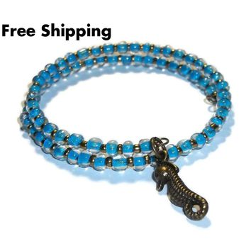Seahorse Neon Blue Glass Bronze Artisan Crafted Stackables Adjustable  Bracelet (XS-S)