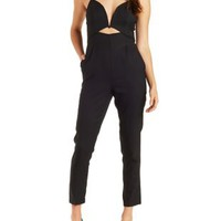 Black Plunging Cutout Jumpsuit by Charlotte Russe