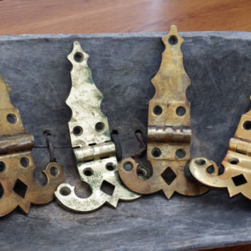 Set of 4 Heavy Brass Vintage Hinges with Patina for Furniture Restoration Project Decor Altered Art Supply
