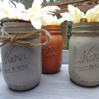 Mason Jars. Painted Mason Jars. Vintage Feel. Distressed.Vase. Home Decor.