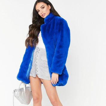 Women Loose Faux Mink fur Jacket fleece Imitation Fox fur Coat Hair Bomber Stand Collar Flocking Cardigan Rabbit Fur Outwear