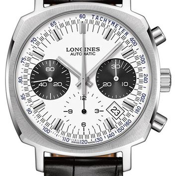 Longines Heritage 1973 Chronograph Steel Mens Strap Watch Calendar White Dial L2.791.4.72.0