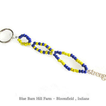 Blue and Yellow Inspirational Key chain - Hand beaded with a Strength Charm - Item # 20150015